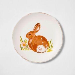 Easter Bunny Display Dish with Metal Easel